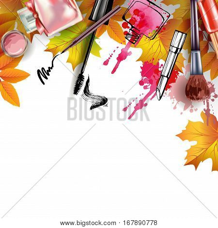 Autumn background with cosmetics and autumn leaves. With place for your text .Template Vector.