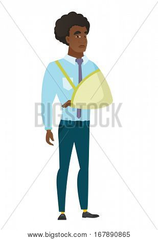 An injured caucasian businessman wearing an arm brace. Businessman with broken arm in sling. Full length of business man with broken arm. Vector flat design illustration isolated on white background.