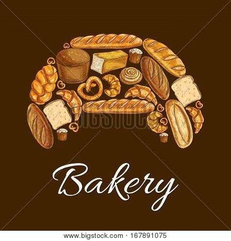 Croissant with bread and bun bakery poster. Baguette, wheat and rye bread, croissant, bun, cupcake, cinnamon roll, braided bun, toast, ciabatta, long loaf and pretzel. Bakery shop design