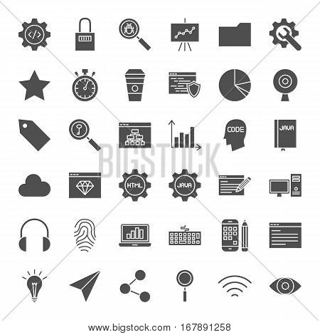 Web Development Solid Icons. Vector Collection of Modern Programming and Coding Glyphs.