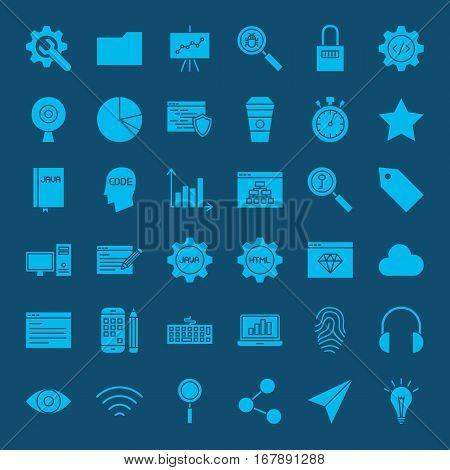 Website Development Glyphs Icons. Vector Set of Modern Coding and Programming Symbols.
