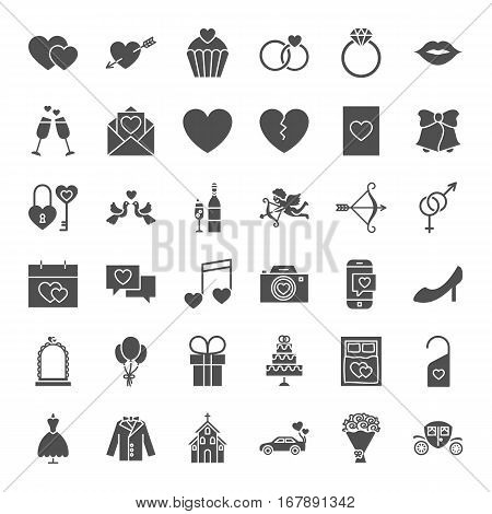 Wedding Solid Web Icons. Vector Collection of Website Love Hearts Glyphs.