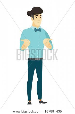 Confused asian  businessman shrugging his shoulders. Full length of doubtful businessman gesturing hands and shrugging his shoulders. Vector flat design illustration isolated on white background.