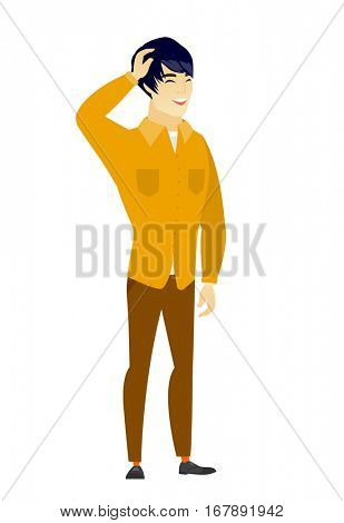 Asian  office worker laughing. Office worker laughing with hands on his head. Office worker laughing with closed eyes and open mouth. Vector flat design illustration isolated on white background.