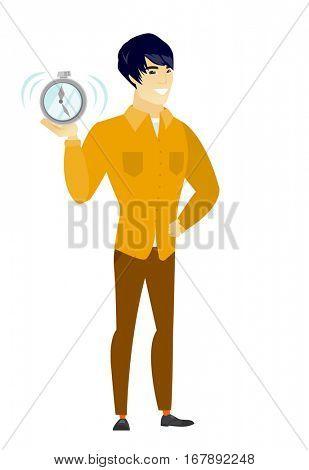 Asian business man showing ringing alarm clock. Full length of business man with alarm clock. Happy business man holding alarm clock. Vector flat design illustration isolated on white background.