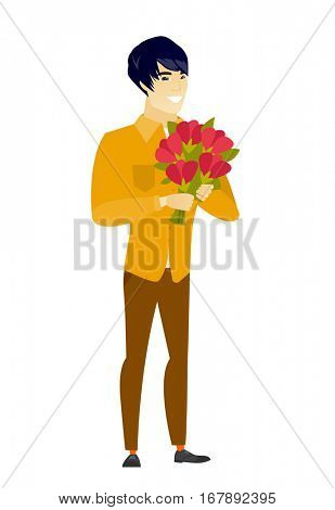 Asian business man holding a bouquet of flowers. Full length of business man with bouquet of flowers. Happy business man with flowers. Vector flat design illustration isolated on white background.