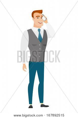 Caucasian businessman talking on a mobile phone. Businessman talking on cell phone. Vector flat design illustration isolated on white background.