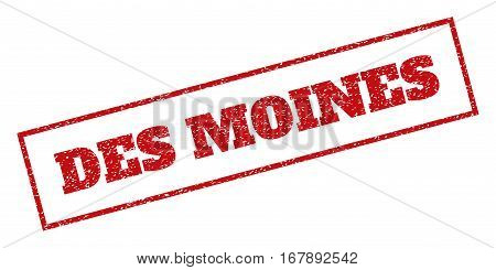 Red rubber seal stamp with Des Moines text. Vector caption inside rectangular frame. Grunge design and dust texture for watermark labels. Inclined sticker.