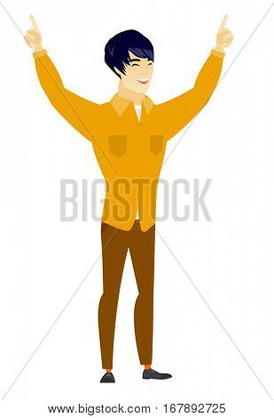 Successful asian  businessman standing with raised arms up. Full length of young happy businessman celebrating with raised arms up. Vector flat design illustration isolated on white background.