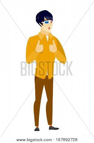 Amazed asian  business man watching movie in 3D glasses. Full length of surprised business man wearing 3d glasses and giving thumbs up. Vector flat design illustration isolated on white background.
