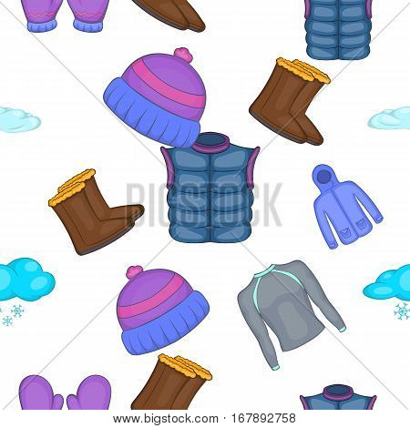 Winter clothes pattern. Cartoon illustration of winter clothes vector pattern for web