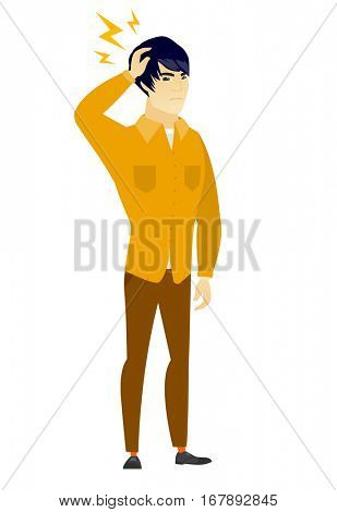 Asian  businessman with lightning over head. Full length of businessman with lightning. Confident businessman standing under lightning. Vector flat design illustration isolated on white background.