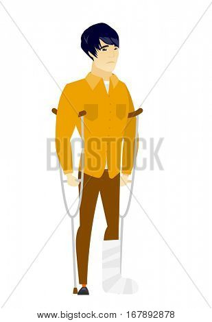 Injured asian  businessman with broken leg on crutches. Businessman with broken leg in bandages. Full length of man with broken leg. Vector flat design illustration isolated on white background.