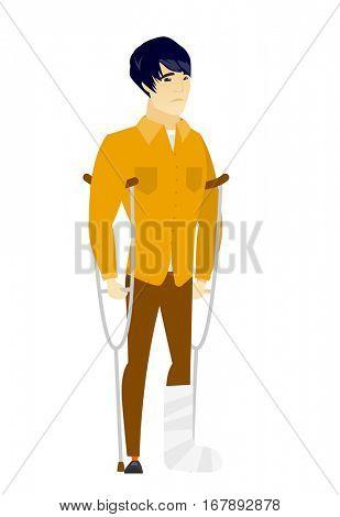 Injured asian  businessman with broken leg on crutches. Businessman with broken leg in bandages. Full length of man with broken leg. Vector flat design illustration isolated on white background.