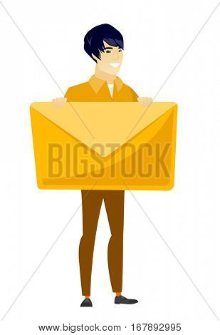 Asian business man holding a big envelope. Full length of business man holding a big envelope. Cheerful business man with big envelope. Vector flat design illustration isolated on white background.