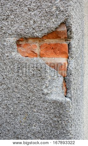 Close up on Cracked Wall. Fixing Repair House Facade Wall Cracks. Cracking In House Facade Concrete Wall Outdoor.