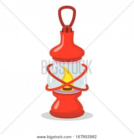Vintage red camping lantern on white in flat and cartoon style