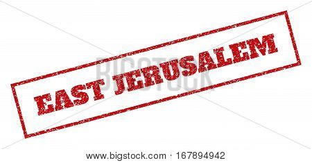 Red rubber seal stamp with East Jerusalem text. Vector message inside rectangular banner. Grunge design and scratched texture for watermark labels. Inclined sign.