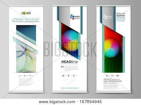 Set of roll up banner stands, flat design templates, abstract geometric style, modern business concept, corporate vertical vector flyers, flag banner layouts. Colorful design with overlapping geometric shapes and waves forming abstract beautiful backgroun