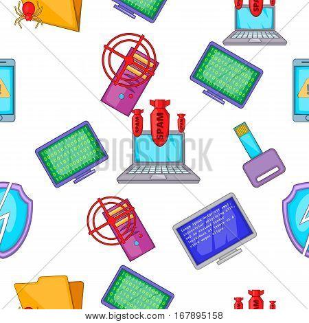 Hacker pattern. Cartoon illustration of hacker vector pattern for web