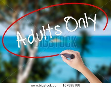 Woman Hand Writing Adults Only With Black Marker On Visual Screen