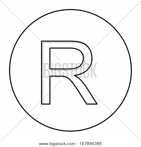monochrome contour with currency symbol of rand south africa in circle vector illustration