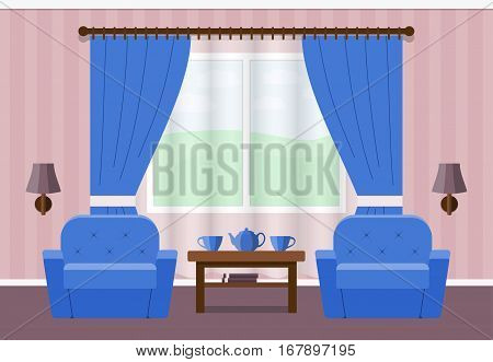 Living room interior in flat style. Vector. House design with furniture armchairs window coffee table. Background.