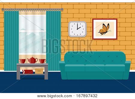 Living room flat Interior. Vector. Home design lounge with furniture and brick wall. Background.