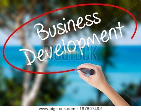 Woman Hand Writing Business Development With Black Marker On Visual Screen.