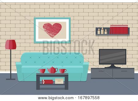 Living room Interior. Flat vector background. Home design lounge with furniture couch coffee table TV picture and brick wall.