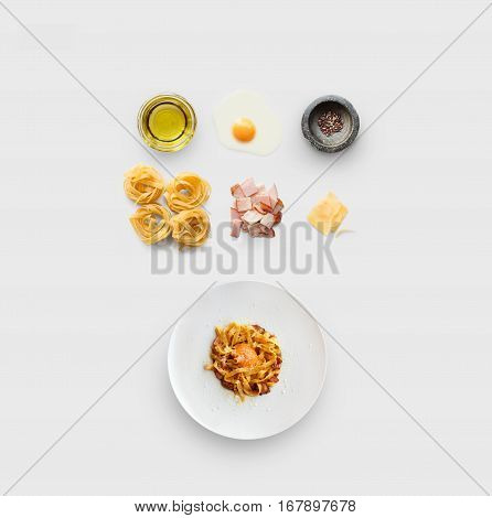 Cooking italian food collage. Ingredients for carbonara pasta, spaghetti, oil, ham, egg and ready dish on plate isolated on white background