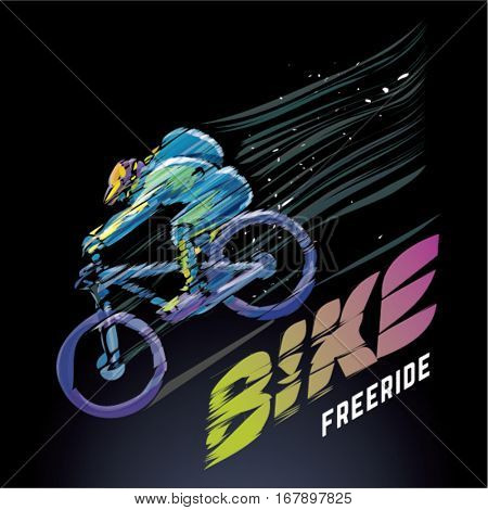 Artistic stylized biker in motion on the black background