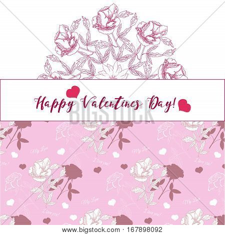 Valentines Day Background with ornamental round. Vector illustration