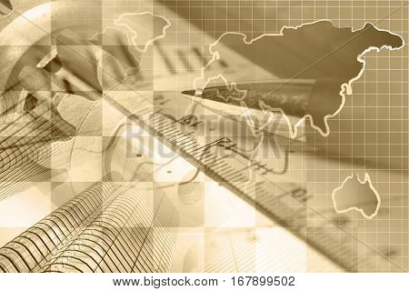 Financial background in sepia with map buildings graph and pen.