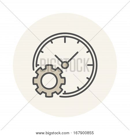 Clock with gear icon. Vector colored time management concept symbol or logo element