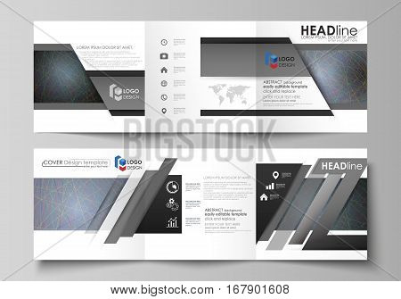 Set of business templates for tri fold square design brochures. Leaflet cover, abstract flat layout, easy editable vector. Colorful dark background with abstract lines. Bright color chaotic, random, messy curves. Colourful vector decoration.