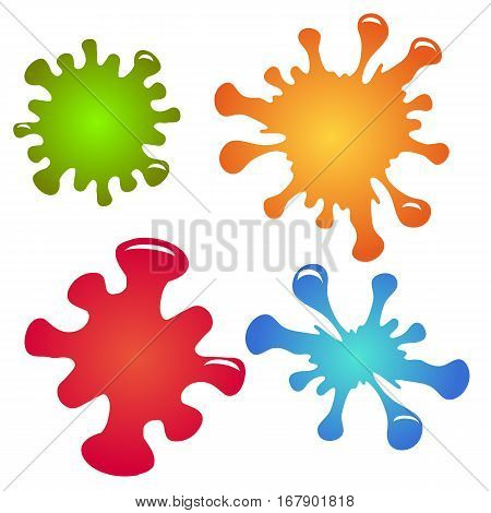Set of multi-colored paint splashes and drops. Vector element for your creativity