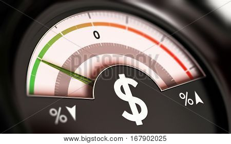 3D illustration of a dial with dollar symbol with needle pointing the green zone. Drop of prices concept horizontal image.