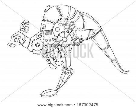 Steampunk style kangaroo. Mechanical animal. Coloring book vector illustration.