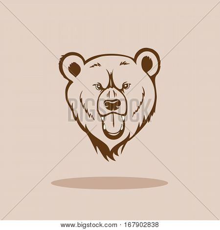 Angry Grizzly Head