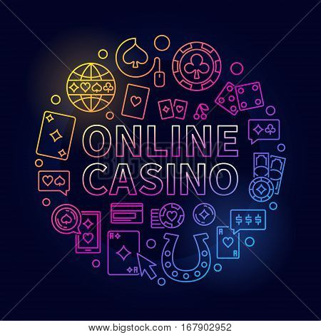 Bright online casino line illustration. Vector colorful round linear design sign made with ONLINE CASINO phrase and gambling icons on dark background