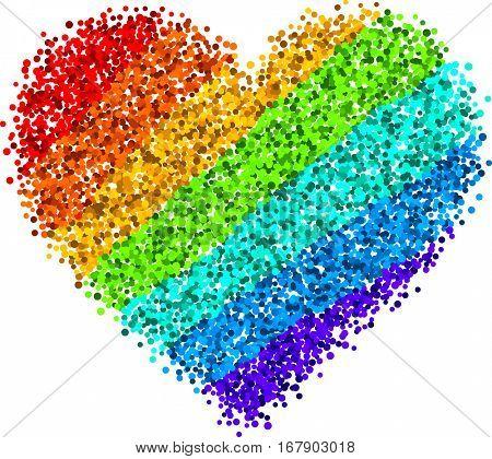 Love valentine's background with rainbow heart. Vector illustration.