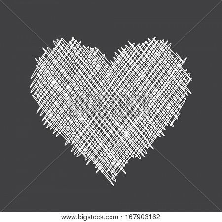 Gray Valentine's love background with white abstract heart. Vector illustration.