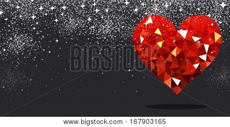 Black Valentine's love background with red geometric heart. Vector illustration.