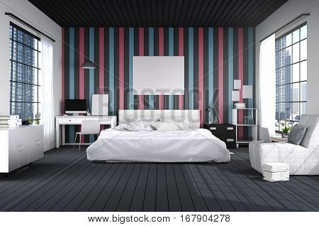 3D rendering : illustration of big spacious bedroom in blue pink and black colors.big comfortable double bed in elegant classic modern bedroom.interior design of house. light from outside