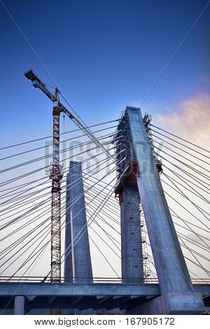 Crane in construction of the cable-stayed bridge. Cracow Poland