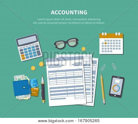 Accounting concept. Tax day. Financial analysis, tax payment, analytics, data capture, statistics, research. Forms, charts, graphs, calendar, calculator, wallet, money, phone on the desk. Top view.