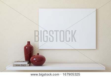 Canvas mockup. Interior with large landscape canvas. 3d render.