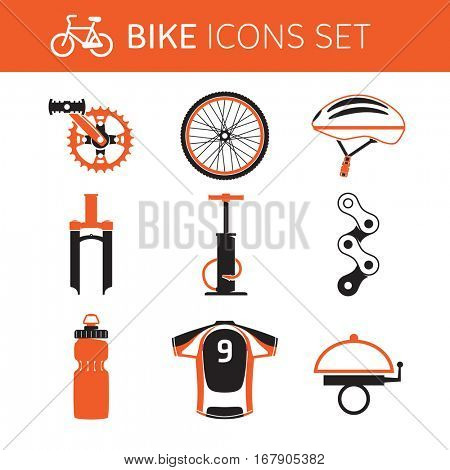 Biking gear and accessories - icon set