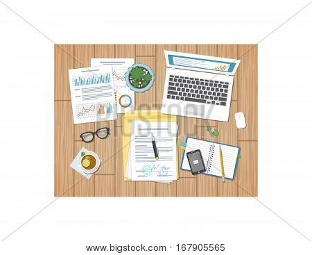 Working environment, business concept, work days, agreement, strategy, analysis, audit. Charts, diagrams, graphs and forms. Desktop with documents, laptop, notebook, glasses, tea, phone, pot. Vector.